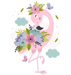 Poster with beautiful floral pink flamingo vector