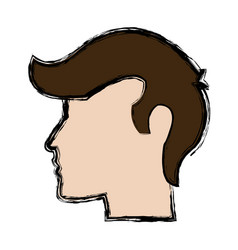Profile head man character people vector