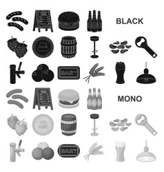 Pub interior and equipment black icons in set vector
