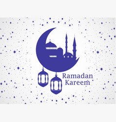 Ramadan kareem mosque and a crescent lantern vector