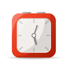 Red analog clock icon vector