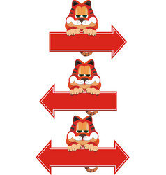 Red cat sitting on arrow pointer vector