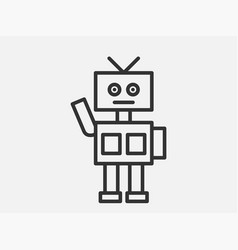 robot toy icon on white background line style vector image