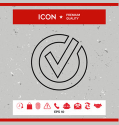 rounded check mark line icon vector image