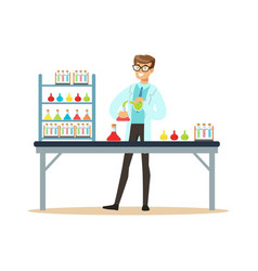 scientist in modern laboratory conducting vector image