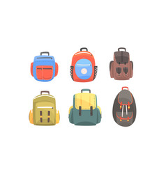 set backpacks for hiking vector image