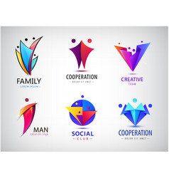 Set human people group logos family vector
