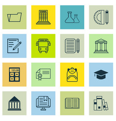 Set of 16 school icons includes e-study paper vector