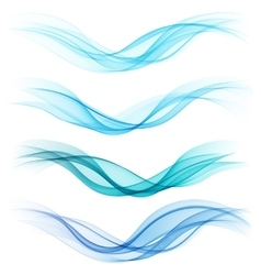 Set of abstract blue waves vector image