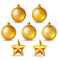 Set of golden Christmas balls and stars isolated vector