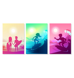 Summer surfing at ocean vector
