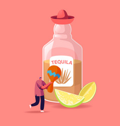 Tequila traditional mexican drink concept tiny vector