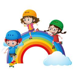 Three kids rollerskating over rainbow vector