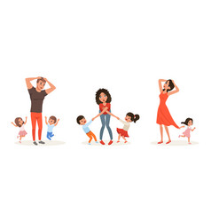 tired parents and children set stressed exhausted vector image