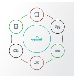 Transport outline icons set collection of bus vector