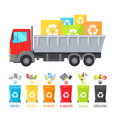 Truck loaded with containers vector