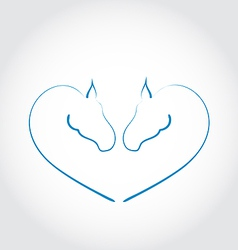 Two horses stylized heart shape vector image