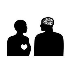 two silhouettes woman with heart and man with vector image