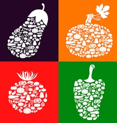 vegetables on vegetables color vector image