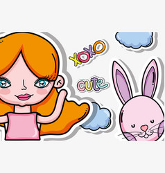 Xoxo cute card with cartoons vector