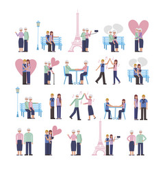 young and old parents lovers couple characters vector image