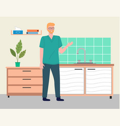young man doctor or vet in doctor s office vector image