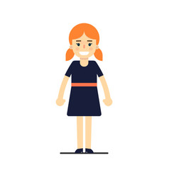 young redhead girl in blue dress vector image