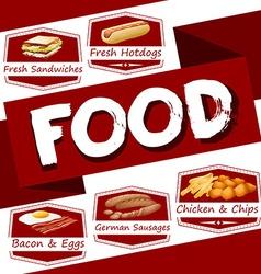 Food menu in red vector image vector image