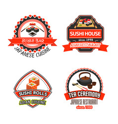 icons set for japanese sushi restaurant vector image vector image