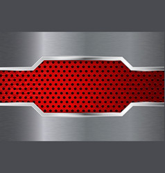 metal background with red perforation plate vector image vector image