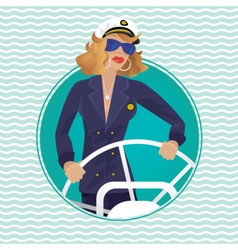 Sea captain female in round water frame with ships vector image vector image