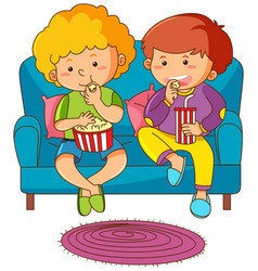 two boys eating snack and drinking soda on sofa vector image vector image