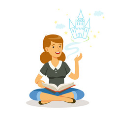 beautiful woman sitting on the floor and reading vector image