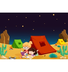 Camping in desert vector