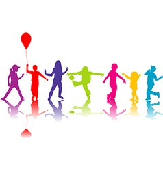 Colored silhouettes of children playing vector image vector image