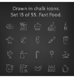 Fast food icon set drawn in chalk vector