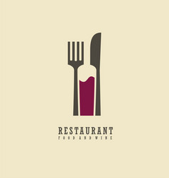 food and wine symbol design vector image vector image