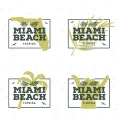 Miami beach florida t-shirt design vintage vector image vector image
