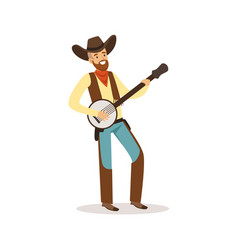 smiling cowboy playing banjo western cartoon vector image