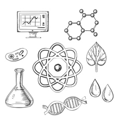 Biology and chemistry sketch icons vector image vector image