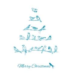 Christmas Card - Birds on Christmas Tree vector image