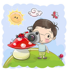 cute cartoon boy with a camera vector image vector image