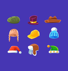Different types of hats and caps warm classy for vector