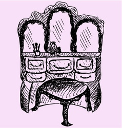 dressing table mirror chair vector image
