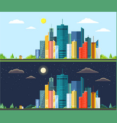 flat style modern design of day and night urban vector image vector image