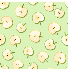Fresh green organic apples seamless pattern vector image