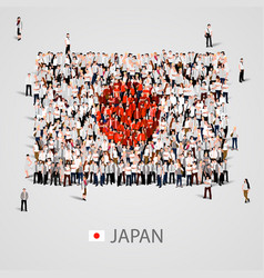 large group of people in the japan flag shape vector image