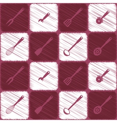 Seamless background with kitchen tools vector