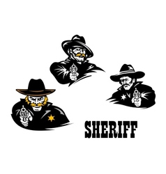 American western sheriff characters set vector image vector image