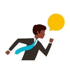 businessman running character isolated icon vector image
